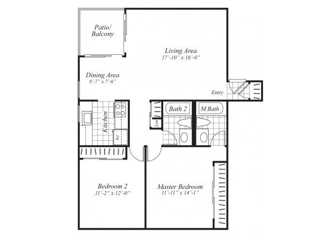 Two bedroom two bathroom B1 Floorplan at Ridgemoor Apartment Homes in Lakewood, CO