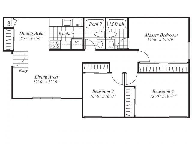 Three bedroom two bathroom C1 Floorplan at Ridgemoor Apartment Homes in Lakewood, CO