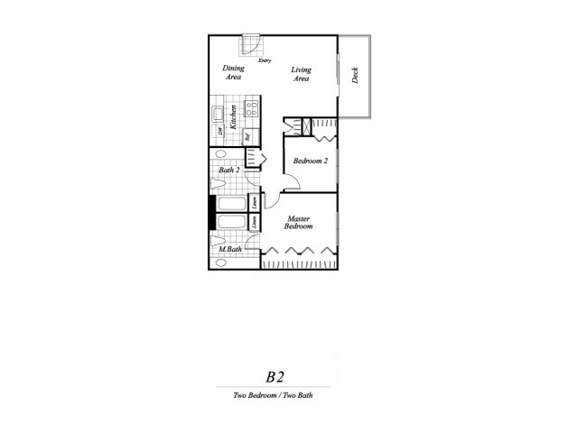 Two bedroom two bathroom B2 floorplan at Timberleaf Apartments in Lakewood, CO