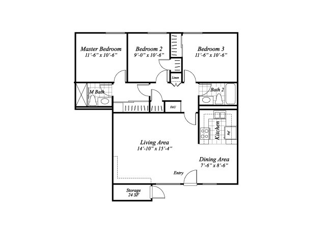 Three bedroom two bathroom C1 floorplan at The Stratton Apartments in San Diego, CA