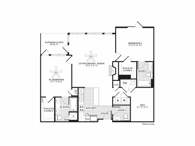 Two bedroom two and a half bathroom B7A floorplan at 597 Westport in Norwalk, CT