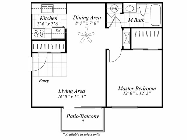 One bedroom one bathroom A1 floor plan at Brentwood Apartment Homes in Manassas, VA