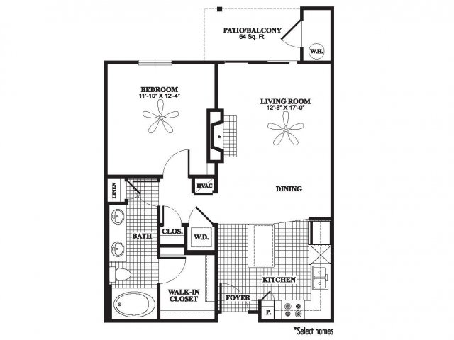 One bedroom one bathroom A2 floorplan at The Preserve at Catons Crossing Apartments in Woodbridge, VA