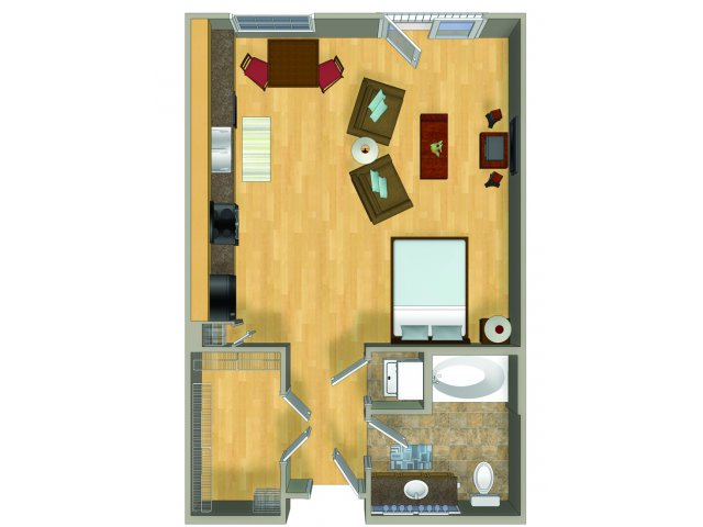Studio one bathroom S1 Floorplan at Presidio Apartments in Denver, CO