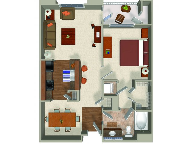 One bedroom one bathroom A2 Floorplan at Presidio Apartments in Denver, CO
