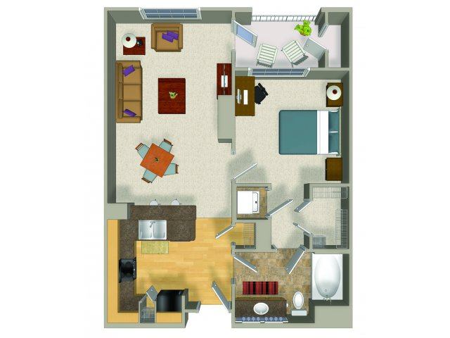 One bedroom one bathroom A3 Floorplan at Presidio Apartments in Denver, CO