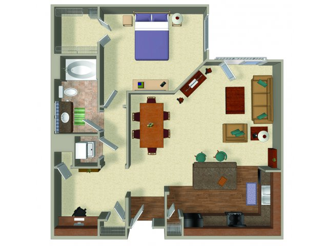 One bedroom one bathroom A4 Floorplan at Presidio Apartments in Denver, CO