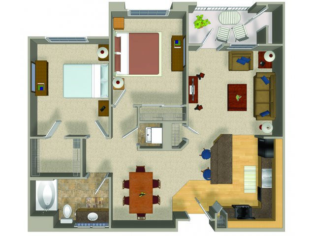 Two bedroom one bathroom B1 Floorplan at Presidio Apartments in Denver, CO