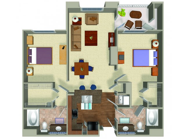 Two bedroom two bathroom B2 Floorplan at Presidio Apartments in Denver, CO
