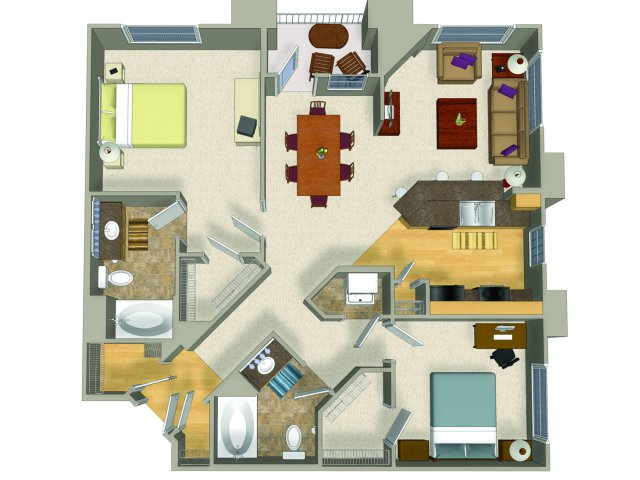 Two bedroom two bathroom B3 Floorplan at Presidio Apartments in Denver, CO