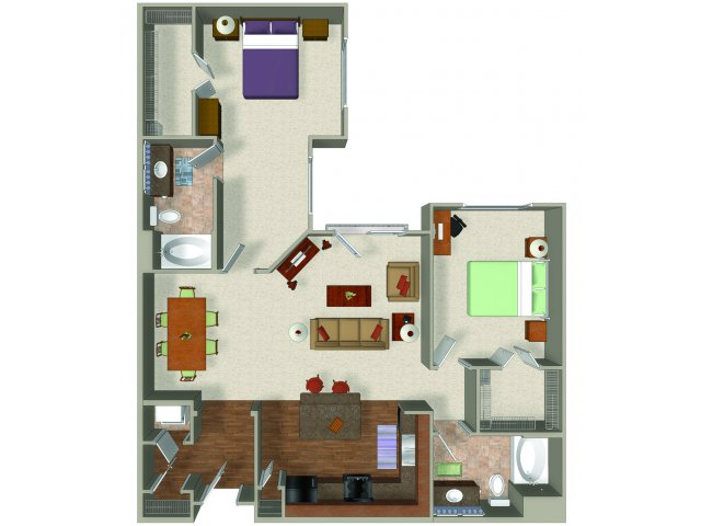 Two bedroom two bathroom B4 Floorplan at Presidio Apartments in Denver, CO