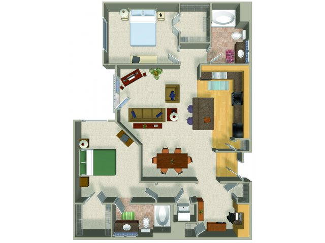 Two bedroom two bathroom B5 Floorplan at Presidio Apartments in Denver, CO