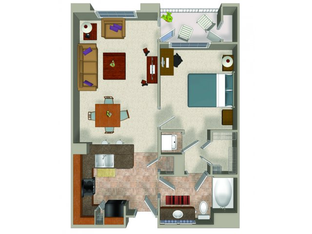 One bedroom one bathroom A1 Floorplan at Presidio Apartments in Denver, CO