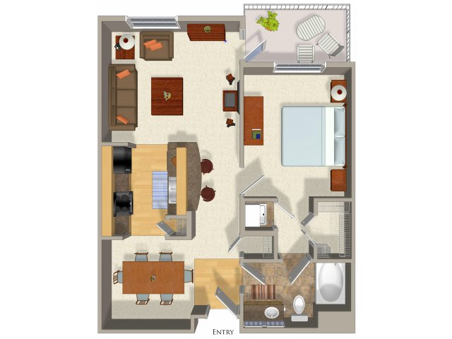1 bedroom 1 bathroom apartment A5 floor plan at Talavera Apartments in Denver, CO