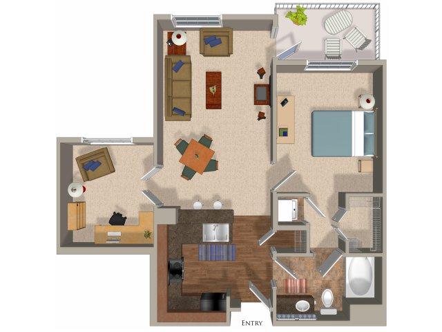 1 bedroom 1 bathroom apartment A6 floor plan at Talavera Apartments in Denver, CO