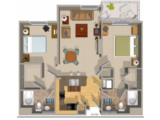 2 bedroom 2 bathroom apartment B2 floor plan at Talavera Apartments in Denver, CO