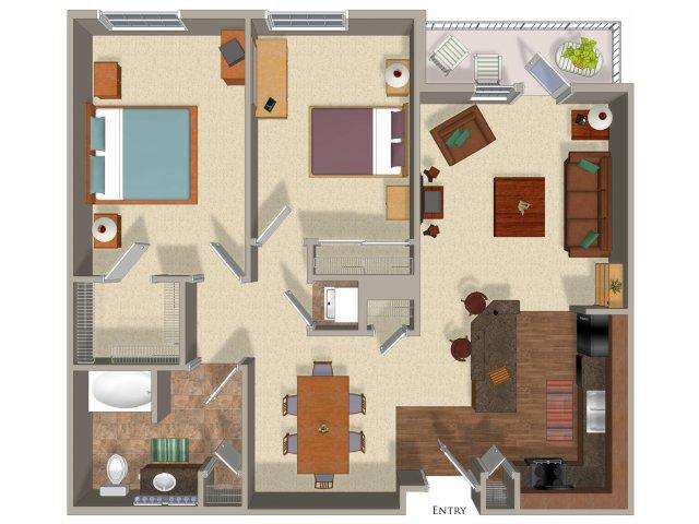 2 bedroom 1 bathroom apartment B3 floor plan at Talavera Apartments in Denver, CO