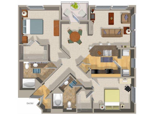2 bedroom 2 bathroom apartment B5 floor plan at Talavera Apartments in Denver, CO