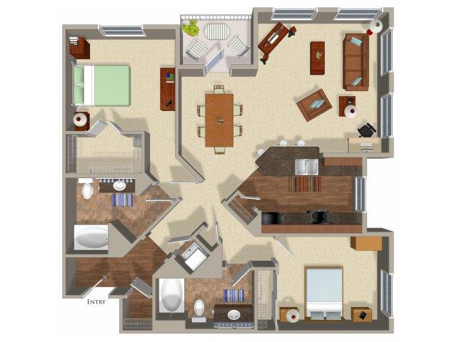 2 bedroom 2 bathroom apartment B7 floor plan at Talavera Apartments in Denver, CO