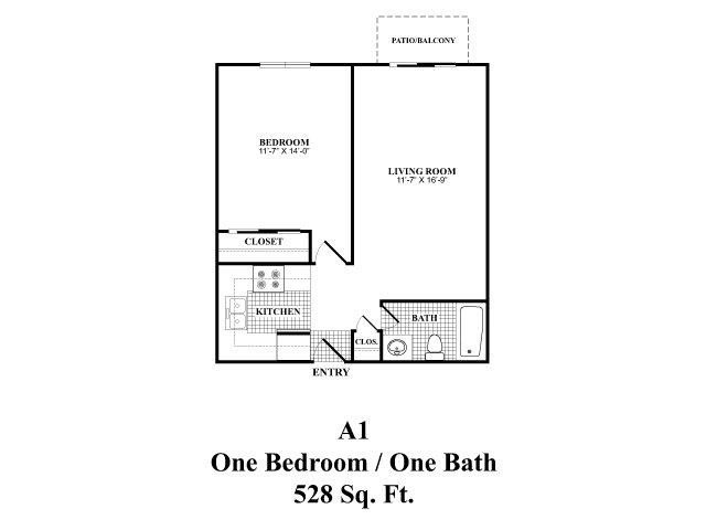 One bedroom one bathroom A1 floorplan at The Fairways Apartments in Derry, NH
