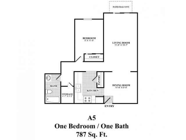One bedroom one bathroom A5 floorplan at The Fairways Apartments in Derry, NH