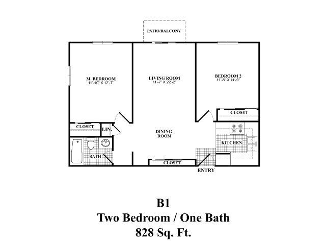 Two bedroom one bathroom B1 floorplan at The Fairways Apartments in Derry, NH
