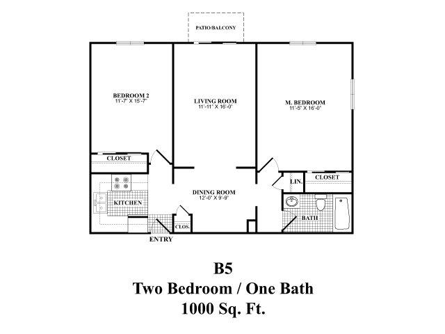 Two bedroom one bathroom B5 floorplan at The Fairways Apartments in Derry, NH