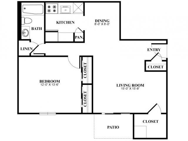 One bedroom one bathroom A1 Floorplan at Foxwood Apartments in Newark, DE