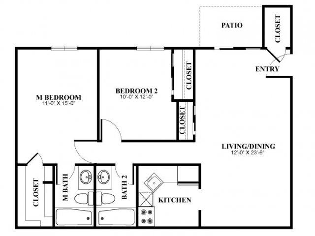 Two bedroom two bathroom B2 Floorplan at Foxwood Apartments in Newark, DE