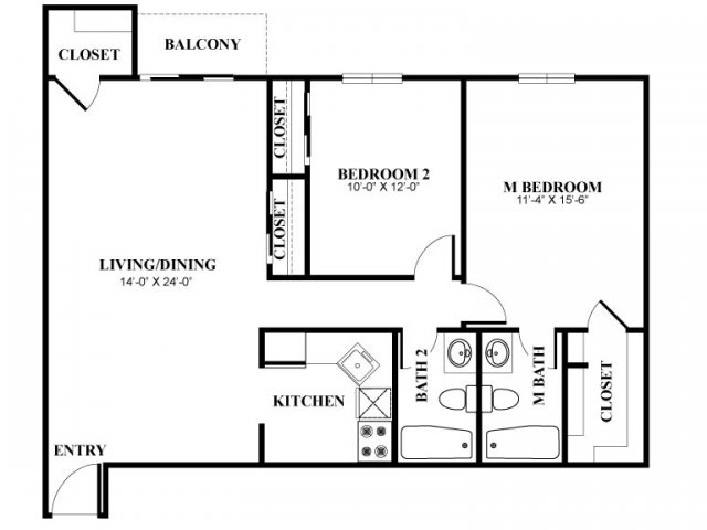 Two bedroom two bathroom B3 Floorplan at Foxwood Apartments in Newark, DE