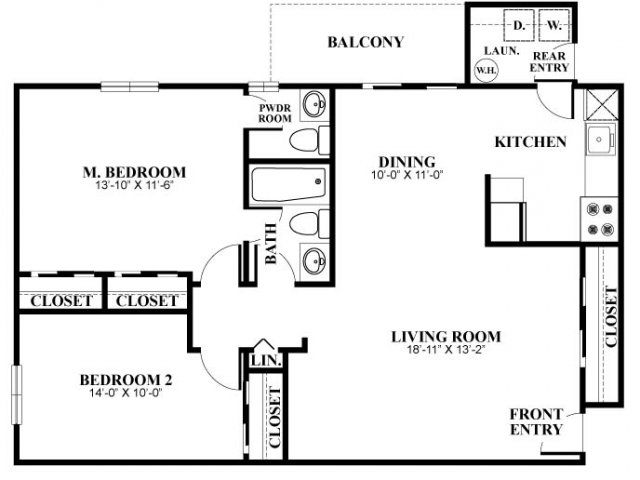 Two bedroom one and a half bathroom B4 Floorplan at Foxwood Apartments in Newark, DE