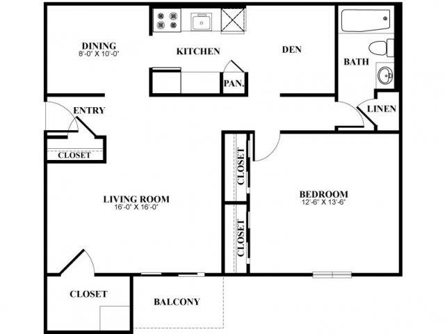 One bedroom one bathroom A2 Floorplan at Foxwood Apartments in Newark, DE