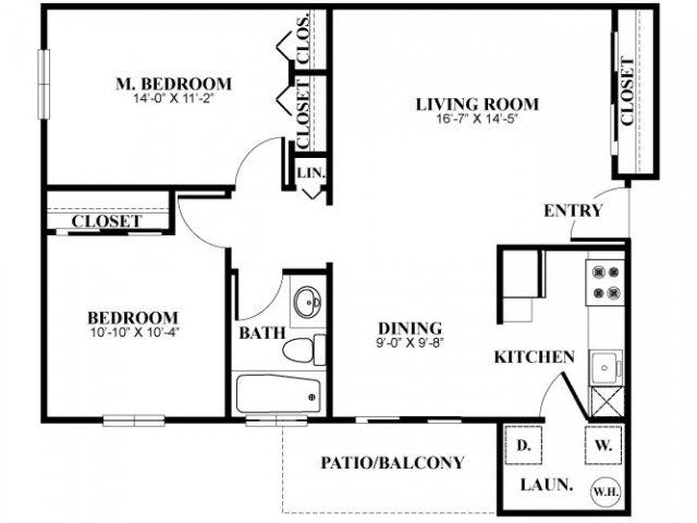 Two bedroom one bathroom B1 Floorplan at Foxwood Apartments in Newark, DE