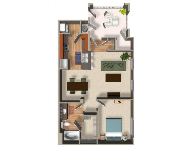 One bedroom one bathroom A1 Floorplan at Mountain Gate Apartments in Las Vegas, NV
