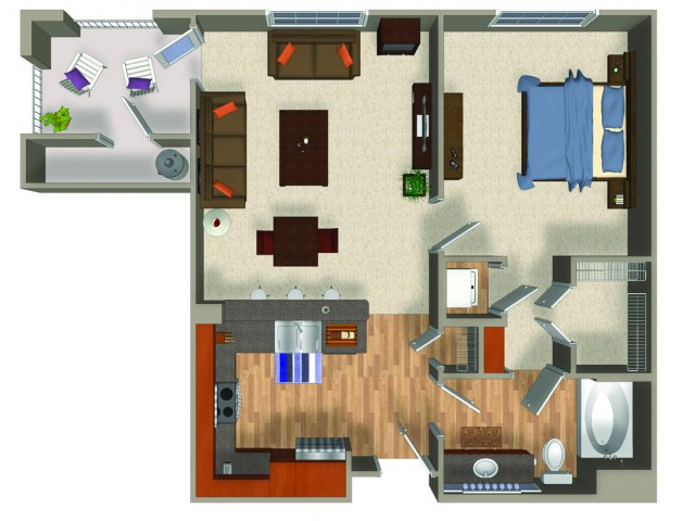 One bedroom one bathroom A1Q Floorplan at Mountain Gate Apartments in Las Vegas, NV