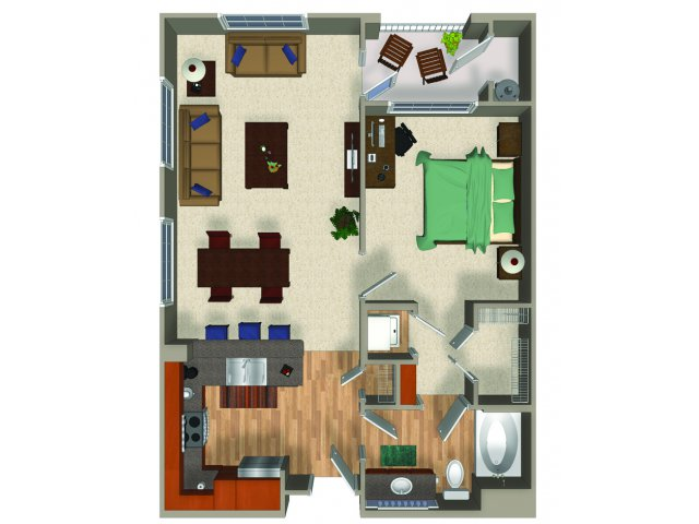 One bedroom one bathroom A2Q Floorplan at Mountain Gate Apartments in Las Vegas, NV