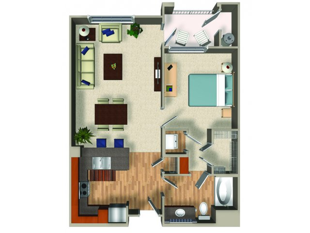 One bedroom one bathroom A3 Floorplan at Mountain Gate Apartments in Las Vegas, NV