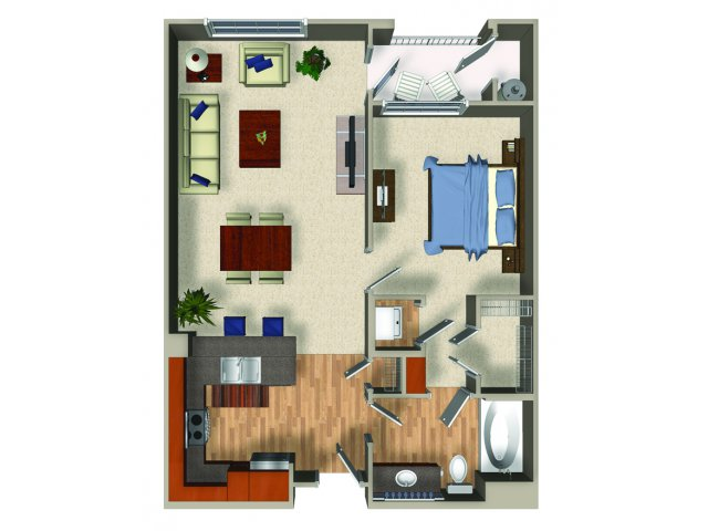 One bedroom one bathroom A3Q Floorplan at Mountain Gate Apartments in Las Vegas, NV