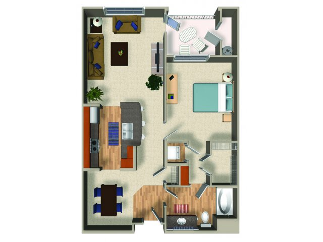 One bedroom one bathroom A4 Floorplan at Mountain Gate Apartments in Las Vegas, NV