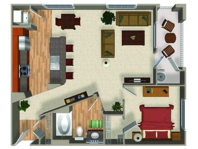 One bedroom one bathroom A4Q Floorplan at Mountain Gate Apartments in Las Vegas, NV