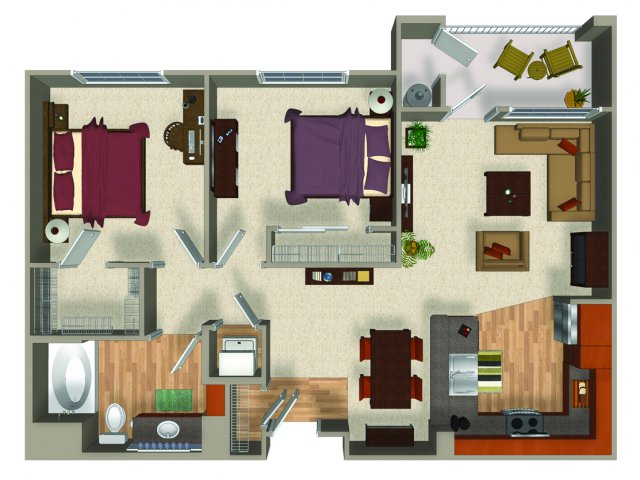 Two bedroom one bathroom B1Q Floorplan at Mountain Gate Apartments in Las Vegas, NV