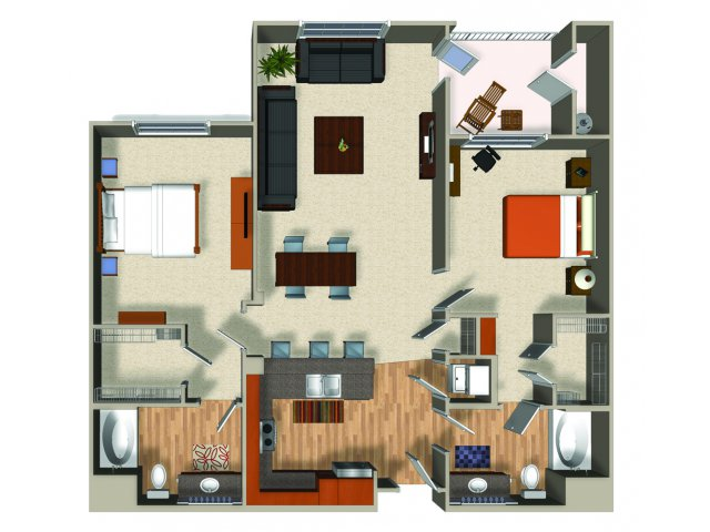 Two bedroom two bathroom B2 Floorplan at Mountain Gate Apartments in Las Vegas, NV