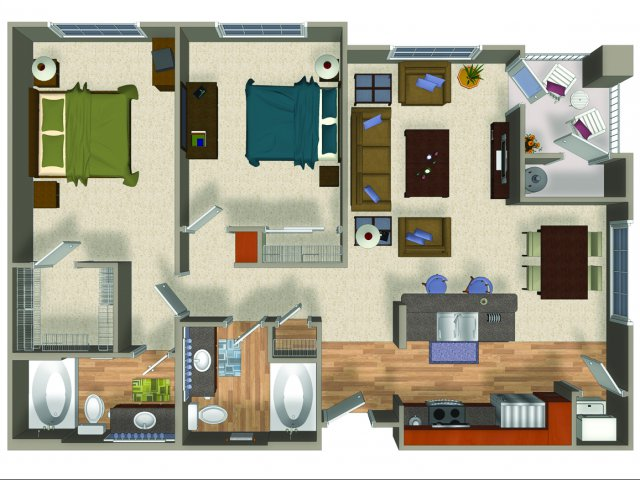 Two bedroom two bathroom B2Q Floorplan at Mountain Gate Apartments in Las Vegas, NV