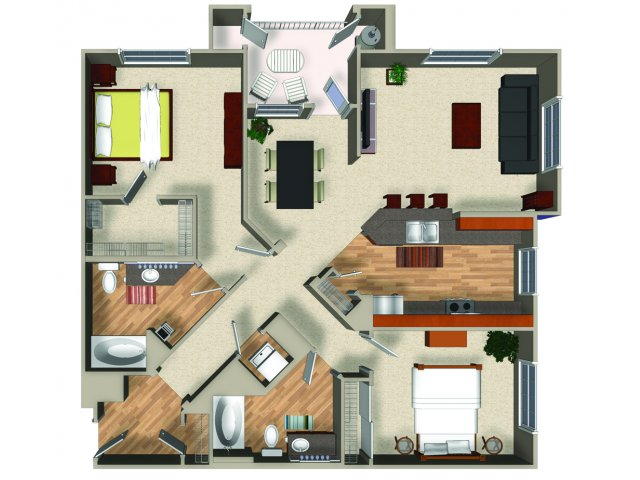Two bedroom two bathroom B3 Floorplan at Mountain Gate Apartments in Las Vegas, NV