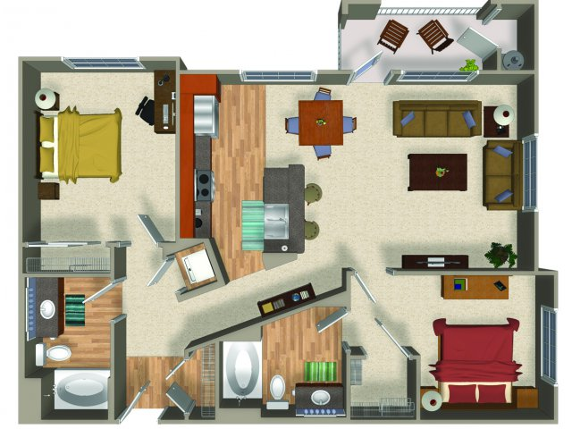 Two bedroom two bathroom B3Q Floorplan at Mountain Gate Apartments in Las Vegas, NV