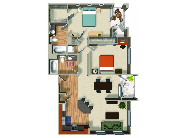 Two bedroom two bathroom B4 Floorplan at Mountain Gate Apartments in Las Vegas, NV