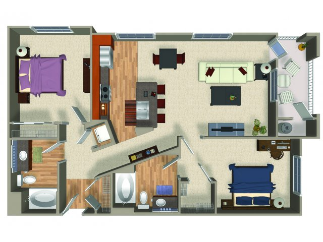 Two bedroom two bathroom B4Q Floorplan at Mountain Gate Apartments in Las Vegas, NV