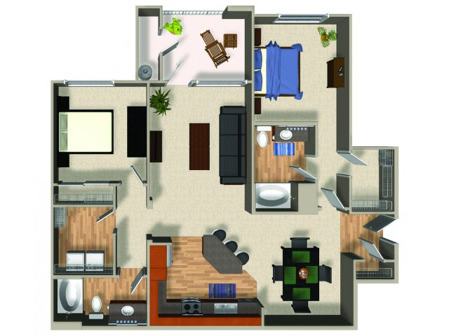 Two bedroom two bathroom B5 Floorplan at Mountain Gate Apartments in Las Vegas, NV