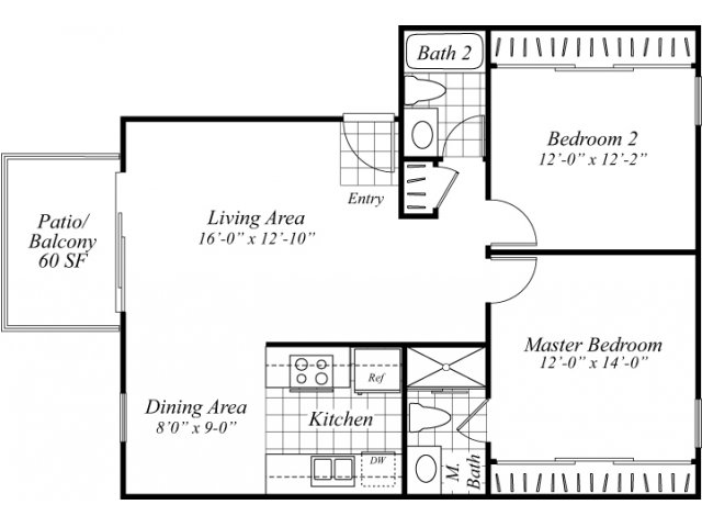 Two bedroom two bathroom B2 floorplan at Turnleaf Apartments in San Jose, CA