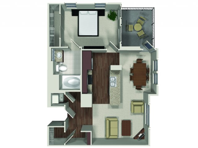 One bedroom one bathroom A5 floor plan at Carabella at Warner Center Apartments in Woodland Hills, CA
